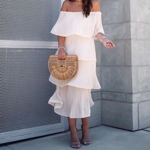 Pleated Off the Shoulder Dress